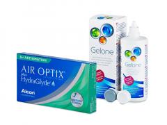 Air Optix plus HydraGlyde for Astigmatism (3 Linsen) + Gelone 360 ml