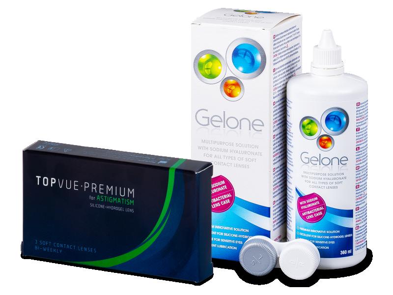 TopVue Premium for Astigmatism (3Linsen) +Gelone 360ml