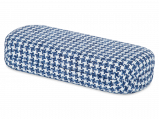 Brillenetui - Hahnentritt blau & weiß